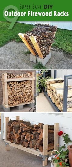 Check out these super easy DIY outdoor firewood racks. You can store your wood clean and dry and it allows you to buy wood in bulk, saving you money. Learn how to build a firewood rack today! Outdoor Firewood Rack, Firewood Holder, Firewood Storage, Firewood Rack Plans, Diy Projects Cans, Outdoor Projects, Parrilla Exterior, Diy Simple, Diy Fire Pit