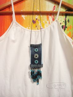 Original piece made with denim fabric, hand painted buttons and other accessories. Fiber Art Jewelry, Textile Jewelry, Fabric Jewelry, Jewelry Art, Jewellery, Fabric Necklace, Diy Necklace, Necklaces, Denim Earrings