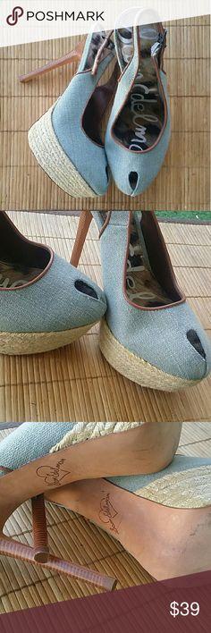 Navato Blue Denim Platforms Sam Edelman platforms. Denim Navato Blue color. Tan leather contrast. Straw platform. Size 7.5. EUC. Very nice with very Lil wear. Sam Edelman Shoes Wedges