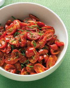 Oven-Roasted Grape Tomatoes with Chives: = 1/4 tsp. olive oil per serving of 1/4 recipe