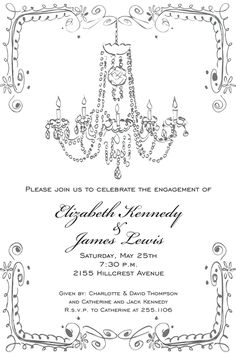 Personalized Vintage Chandelier Invitations, Engagement Party Invitation Ideas, Create Beautiful & Unique Personalized Vintage Chandelier Invitations at Affordable Prices Invitation Design, Invitation Cards, Invites, Great Gatsby Themed Wedding, Roaring 20s Wedding, Engagement Party Invitations, All Paper, Vintage Chandelier