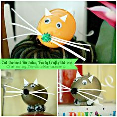 #Cat-Themed #Birthday Party #Crafts { With Tutorial } -- #decor #partydecor #creative #mice #recycle