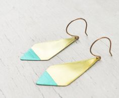 Turquoise Earrings- Southwestern Geometric, Brushed Brass, Dipped Diamond Points on Etsy, $36.00