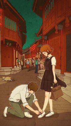 Cute Couple Drawings, Cute Couple Art, Anime Couples Drawings, Cute Drawings, Cute Love Wallpapers, Cute Couple Wallpaper, Cute Cartoon Wallpapers, Love Cartoon Couple, Anime Love Couple