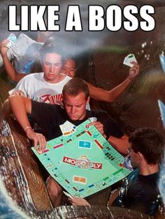 @Larissa Jorgensen, our style of Monopoly! The only thing missing is a furious Brooke haha.