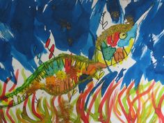 Food dye and permanent marker. Leafy Sea Dragon, Food Dye, Permanent Marker, Primary School, Students, Artwork, Painting, Work Of Art, Auguste Rodin Artwork