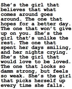 She's the girl I know.