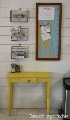 colorful kitchen command center - magnetic map and wire basket organizers