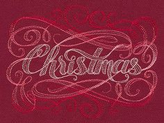 """""""Calligraphic Christmas"""" Celebrate the yuletide season with the word """"Christmas"""" in Victorian-style calligraphy! - UT7245 (Machine Embroidery) 00595187-1217131036-8"""