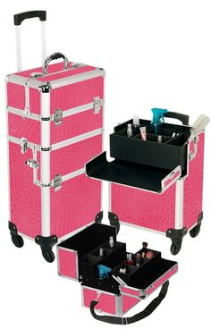 Pro Aluminum Makeup Case Pink 4 Wheeled Spinner only $169.95 plus free shipping!