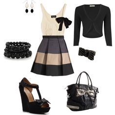 High Waisted Skirt & Bow Accents