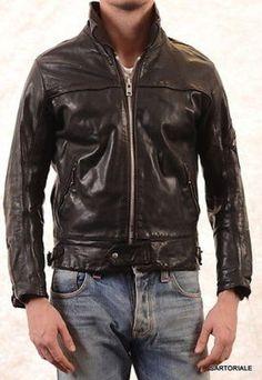 BELSTAFF Vintage Made In Italy Black Leather Jacket EU S / US 38
