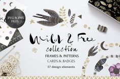 Graphic Design - Graphic Design Ideas - Check out Wild&Free collection by SoNice on Creative Market Graphic Design Ideas : – Picture : – Description Check out Wild&Free collection by SoNice on Creative Market -Read More – Pencil Illustration, Graphic Illustration, Texture Web, Flyer Free, Design Typography, Lettering, Drawing Frames, Photoshop, Card Patterns
