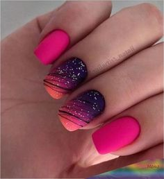 36 Sparkle Glitter Acrylic Nail Designs Ideas for Short Square & Almond Nails - Summer Na. - 36 Sparkle Glitter Acrylic Nail Designs Ideas for Short Square & Almond Nails - Summer Nails - Fall Nails Ideas - NailiDeasTrends - Short Nail Designs, Nail Designs Spring, Cute Summer Nail Designs, Square Nail Designs, Nail Art Ideas For Summer, Best Nail Art Designs, Colorful Nail Designs, Gel Polish Designs, Colorful Nails