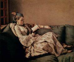 Lezende vrouw, door Jean Étienne Liotard (1753)