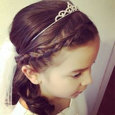 Flower girl braid half up do with tiara by Lucy Lopez
