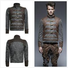 Punk-Rave-Y-646-Steampunk-Man-Aviator-Zipped-Stand-up-Collar-Short-Jacket-Coat