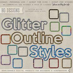 freebie: glitter outline styles