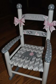Personalized Painted Rocking Chair For A Girl Or A Boy