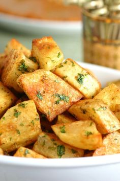 An easy to make recipe for Spicy Lebanese-Style Potatoes (Batata Harra). These spiced potatoes are a flavorful appetizer, side dish, or party snack. [Read Recipe by Potato Dishes, Potato Recipes, Potato Snacks, Vegetarian Recipes, Cooking Recipes, Healthy Recipes, Protein Recipes, Healthy Sweets, Detox Recipes