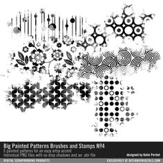 Big Painted Patterns Brushes and Stamps No. 04 large graphic painted patterns in PNG and ABR file formats Geometric Tattoo Sleeve Designs, Tattoos Geometric, Tattoo Trash, Trash Polka Tattoo, Stencil Patterns, Painting Patterns, Body Art Tattoos, Sleeve Tattoos, Design Lotus