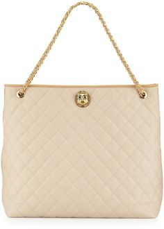 Love Moschino Borsa Quilted Faux-Leather Tote, Beige/Ivory on shopstyle.com