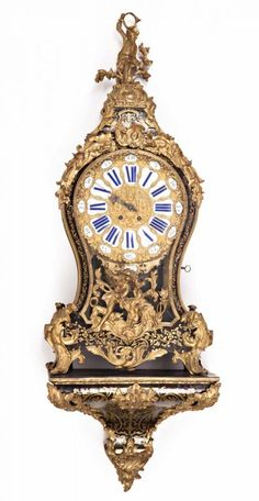 """French Regency-style """"cartel"""" clock with tortoiseshell and brass Boulle inlay and gilt-bronze applic"""