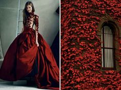 mode-robe-nature-feuilles-rouges Marchesa