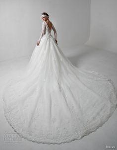 jillian 2017 bridal long sleeves v neck heavily embellished bodice princess a…