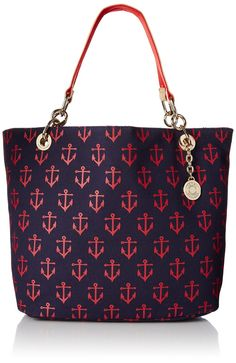 Tommy Hilfiger TH Signature with Flat Handles Travel Tote, Navy/Red, One Size: Handbags: Amazon.com
