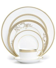 Vera Wang Wedgwood Dinnerware, Lace Gold Collection - Fine China - Dining & Entertaining - Macy's