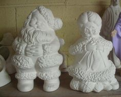 "Vintage Style Santa Mrs Clause Christmas DIY 9"" Decoration Unpainted ceramic bisque to paint your own Vintage Style Mr and Mrs Santa Clause by MapleHillCeramics on Etsy"