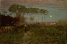 "George Innes (1825-1894) - Early Moonrise in Florida. Oil on Canvas. Florida. Circa 1892-1893. 24-3/8"" x 36-1/4""."