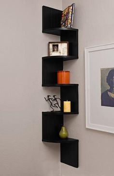 corner zig zag wall shelf white wall corner shelves for corner inside dimensions 768 x 1024 auf Corner Wall Shelf Images Large Corner Shelf, Corner Wall Shelves, Wall Mounted Shelves, Wooden Shelves, Display Shelves, Small Corner, Glass Shelves, Display Wall, Corner Space