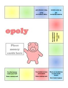 Here's a game called Piggy-opoly. Students move around the board and collect money cards. While playing they must select cards to add like and different coins, with up to 3 coins per card.