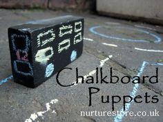 garden chalkboard puppets