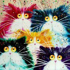 Глазастые кошки художницы Kim Haskins :: Забавные коты глазами художников