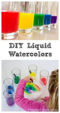 Easy and Affordable DIY Liquid Watercolor - Preschool Inspirations Preschool Painting, Preschool Art Activities, Infant Activities, Painting For Kids, Art For Kids, Teach Preschool, Preschool Centers, Children Activities, Color Activities