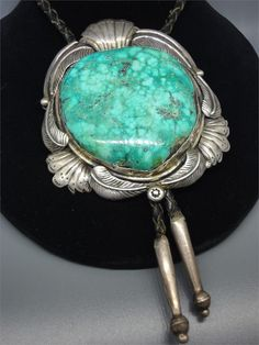 "Vintage Bolo Tie sign by Bennett Pat. Pend, 1970's  Dimensions : 18"" Long [Gorgeous Turquoise!]"