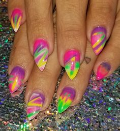 Ideas Nails Green Neon Purple For 2019 French Manicure Nail Designs, Purple Nail Designs, Nail Art Designs, Unicorn Nail Art, Angels Touch, Neon Nail Art, Neon Purple, Neon Green, Pink