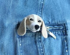 Needle felted brooch Dog Felt Brooch Dog Hunting dog Gifts for