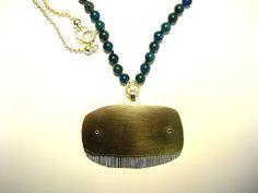 JENNIFER MARTIN: 'Whale looking at you' neckpiece- 999, 925, black diamond, apatite beads