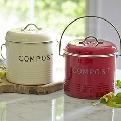 Compost Bins | Small, tabletop compost bins allow you to minimize trips out to the compost pile.