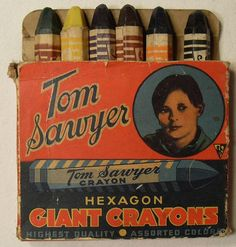 TOM SAWYER Giant Hexagon Crayons Vintage 1942.  No roll crayons.