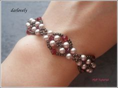 Red Antique Pearl Bracelet BB174  PDF Tutorial by darlovely