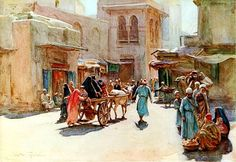 Un viaje barato ( A cheap trip ) 1912  illustrated from An artist in Egypt (1912)  by Walter Tyndale ( English 1855–1943 )  watercolor