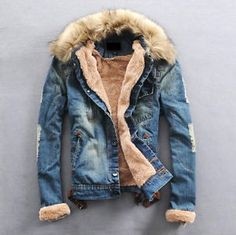 fur collar denim jacket for men | Men's Coat with Fur Collar