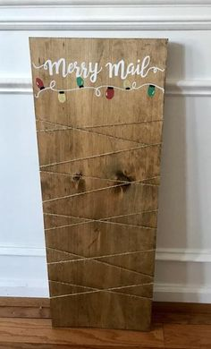 Merry Mail Christmas Card holder – The Rustic Peach Christmas Tree Card Holder, Gift Card Tree, Christmas Card Display, Merry Christmas Sign, Diy Christmas Cards, Holiday Crafts, Christmas Wood, Pink Christmas, Country Christmas