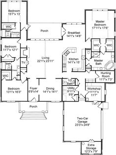 House Plans, Home Plans and floor plans from Ultimate Plans - can hunting room be enlarged to be a bonus room.we definitely need that hunting room to store all the hunting and camping equipment. House Plans And More, Dream House Plans, House Floor Plans, My Dream Home, Small Floor Plans, The Plan, How To Plan, Building Plans, Building A House
