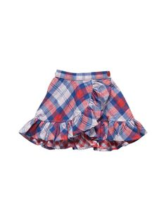 Double plaid reversible skirt with an elastic waistband Little Girl Skirts, Skirts For Kids, Little Girl Dresses, Girls Dresses, Kids Dress Wear, Baby Dress, Toddler Outfits, Kids Outfits, Kids Frocks Design
